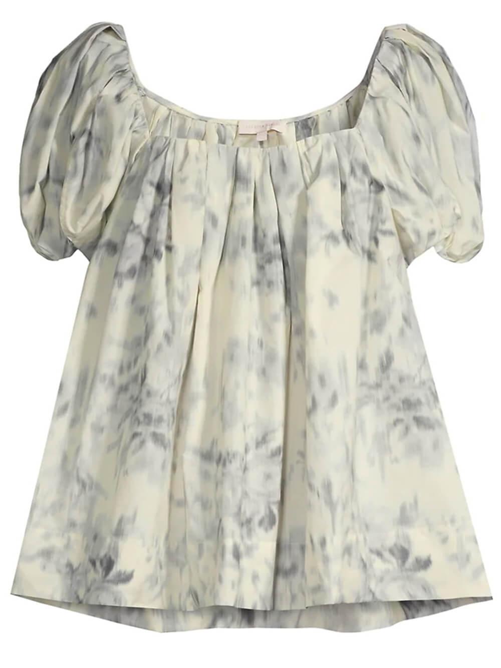 Whisper Rose Printed Tulip Sleeve Top Item # 721957B850