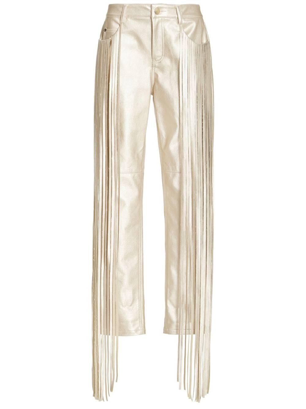 Vegan Leather Pant With Fringe Item # HA21P200-34
