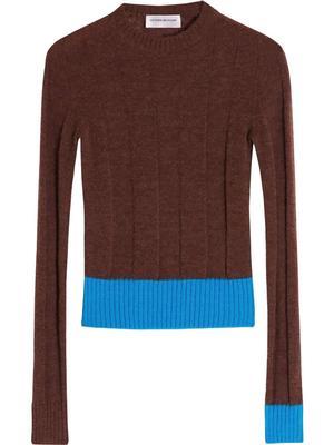 Wide Rib Contrast-Trim Sweater