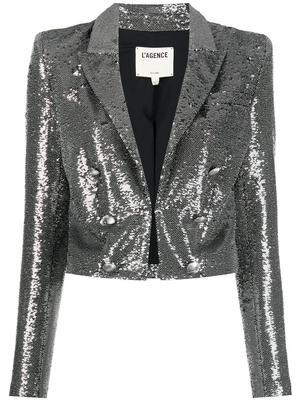 Inez Cropped Sequin Blazer