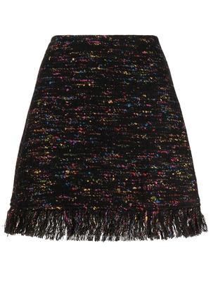 Fringe Hem Wool Mini Skirt