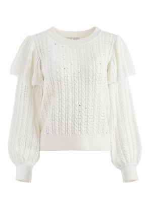 Rosie Embellished Ruffle Cable Sweater