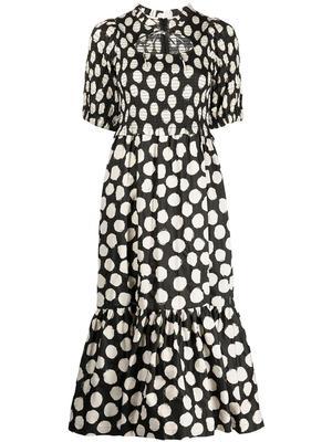 Arline Polka Dot Smocked Dress