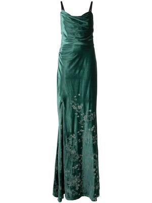 Cowl Neck Velvet Embroidered Gown