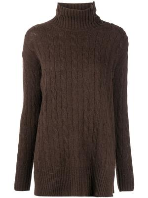Button Detail Turtleneck Sweater