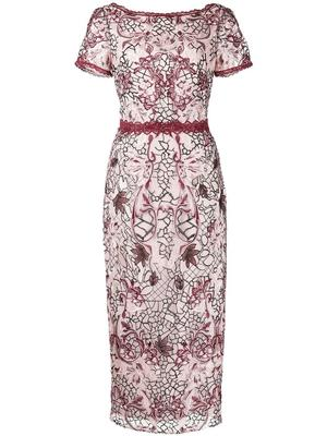 Embroidered Tea Length Gown