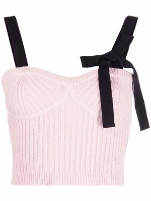 Cropped Sweater Tank With Ribbon Shoulders