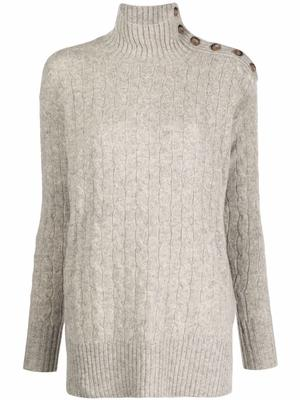 Button Detail Cable Knit Sweater
