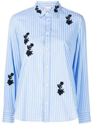 Striped Button Down With Applique Flowers