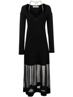 Aaliyah Compact Rib Dress with Chain