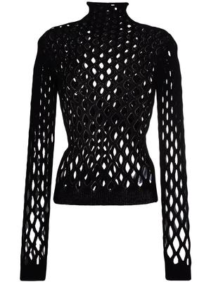 Net Knitted Turtleneck Top