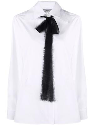Button Down Blouse With Necktie