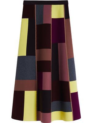 Color Block Knit Midi Skirt