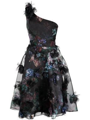 One Shoulder Draped Organza Dress