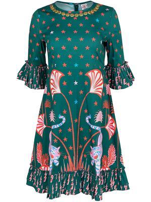 Printed Peplum Sleeve Dress