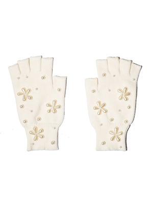 Pearl Snowflake Fingerless Gloves