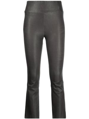 Leather Crop Flare Pant