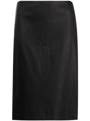 Knit Leather Combo Pencil Skirt