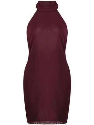 Mock Neck Halter Mesh Dress