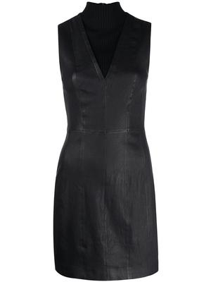 Knit and Leather Combo Fitted Dress