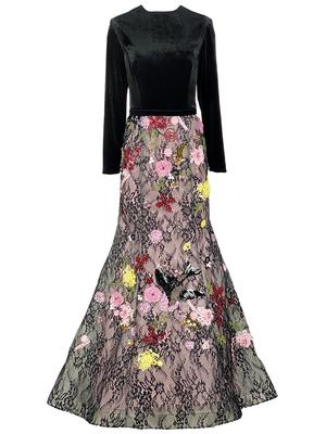 Velvet and Floral Lace Gown
