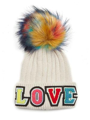 Knitted Love Hat with Faux Pom