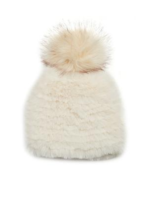 Faux Fur Knitted Hat With Pom