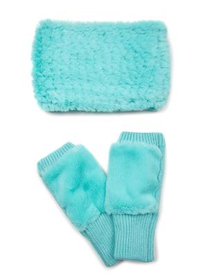 Knitted Faux Fur Cowl and Mandy Mittens Set