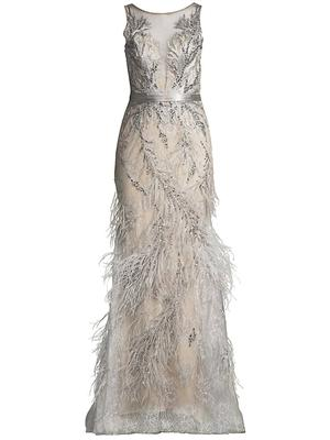 Bead and Feather Embellished Gown