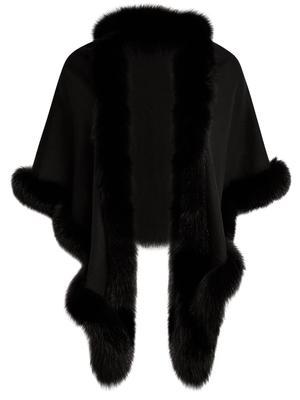 Fur Trim Cashmere Cape