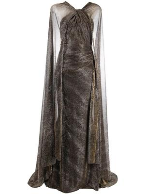 Metallic Gown With Long Cape
