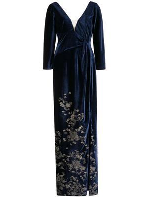 Embroidered Velvet Gown