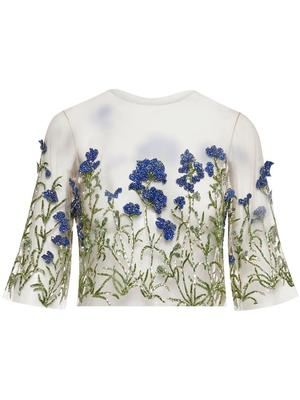 Crystal Embroidered Sheer Top